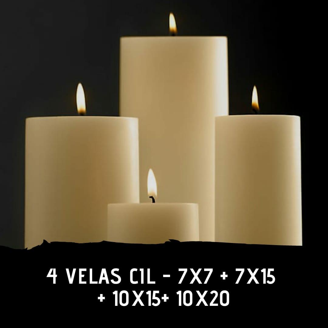 4 velas cil 7×7 + 7×15 + 10×15 + 10×20 cor branca