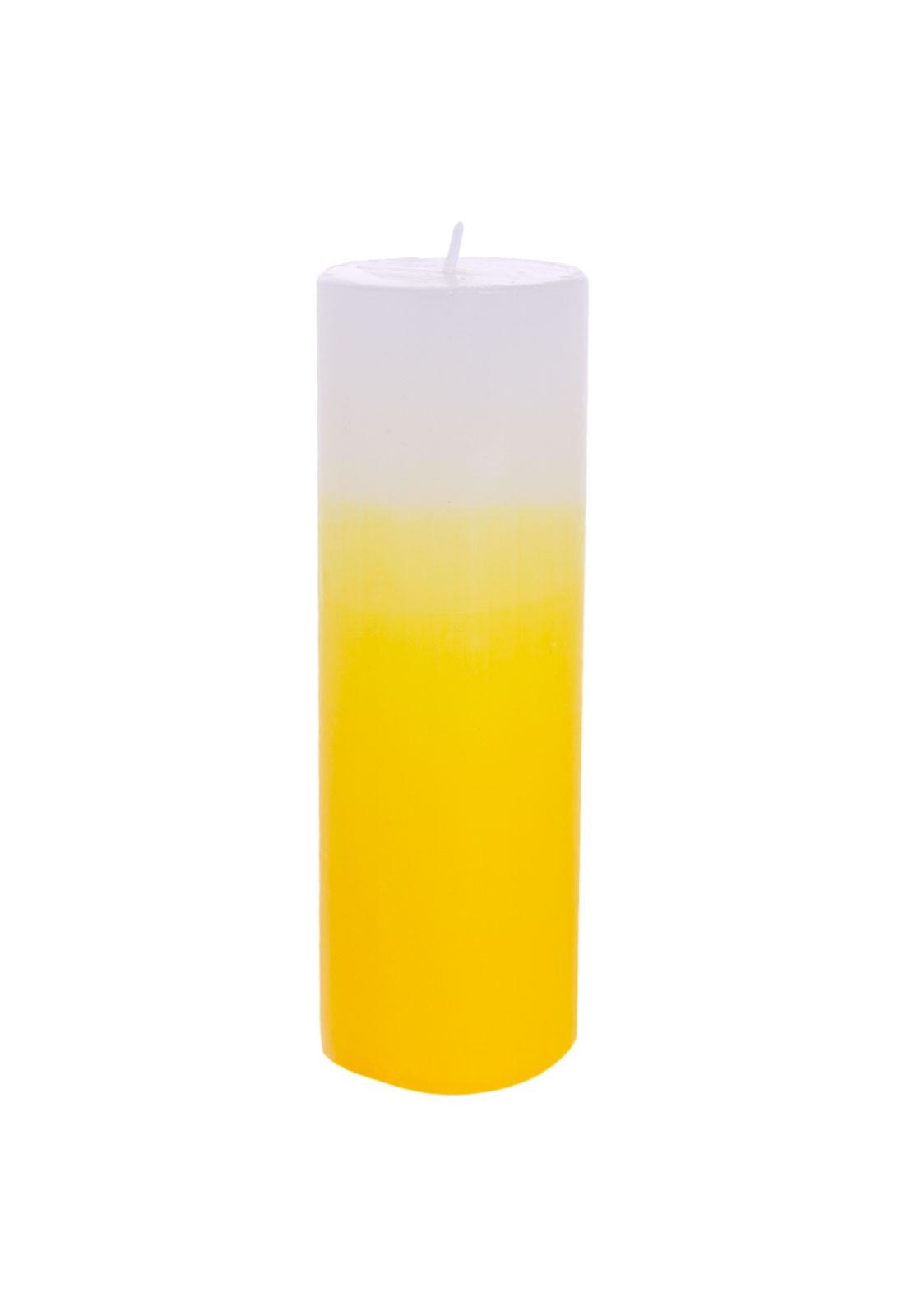 vela cilindro 6×14 branca degrade amarelo