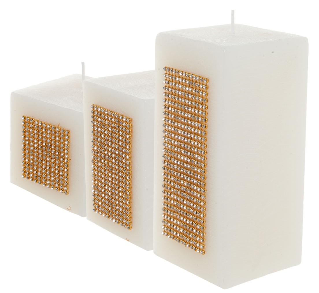 Trio de Velas quadradas 7×7, 7×10 e 7x15cm branca com tira de strass ouro